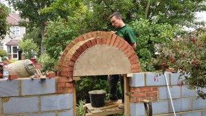 The rear arch has been twisted to allow the garden gate to open round further.