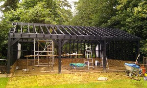 The picture shows the timber structure painted and complete ready for the next stages.